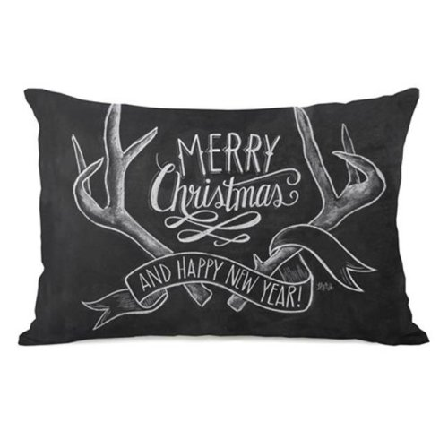 One Bella Casa 73418PL42 Merry Christmas Antlers Pillow by Lily & Val, Gray White