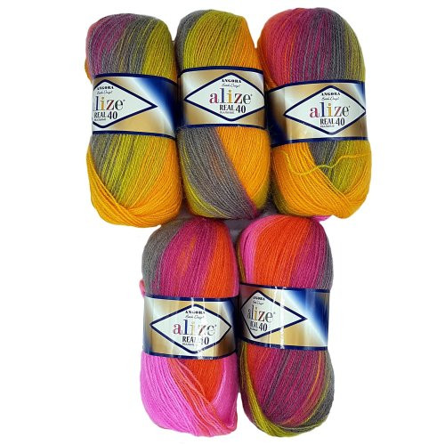 5 x 100 g Alize Knitted Wool 40% Content. Pink Gradient Fashion Green Orange No. 4834, 500 g