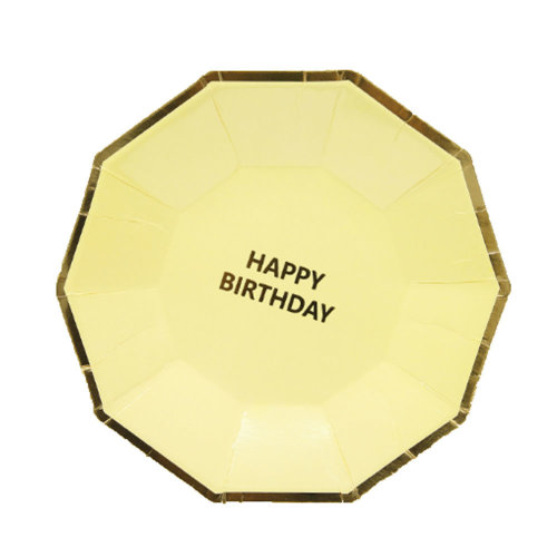 Exquisite Happy Birthday Party Paper Plates with Bright Color 20Pcs