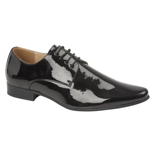 Goor Mens 4 Eye Chisel Toe Gibson Patent Shoe Black