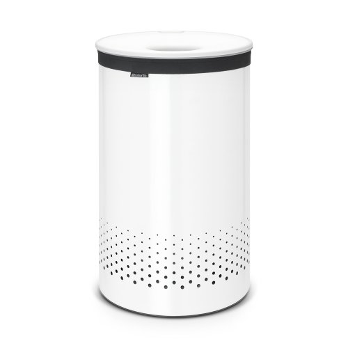 Brabantia Large Laundry Bin with Plastic Lid, 60 L - White