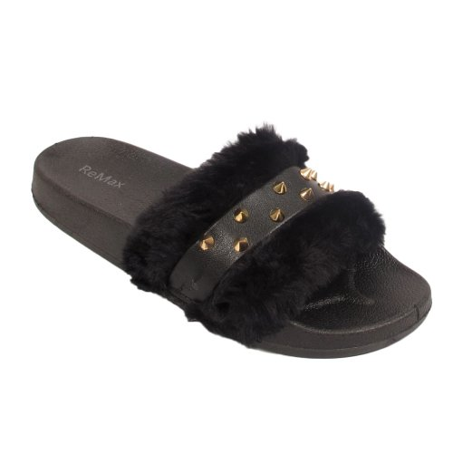 Ladies Studded Furry Slides Flip Flops