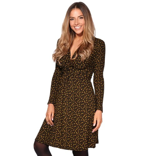 Ditsy Print Knot Front Dress