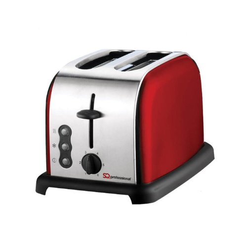 SQ Professional 900 W Two Slice Toaster with 3 Functions and 6 toasting levels - Ruby