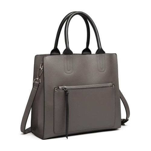 Miss Lulu Front Pocket Square Handbag Shoulder Bag Tote Grey