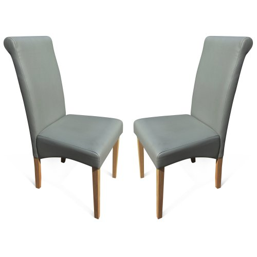 Groovy 2 Grey Roma Dining Chairs Faux Leather With Scroll Top Light Oak Leg Unemploymentrelief Wooden Chair Designs For Living Room Unemploymentrelieforg