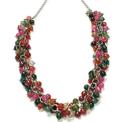 FAB Multi-Coloured Gemstone Necklace, Charm Style