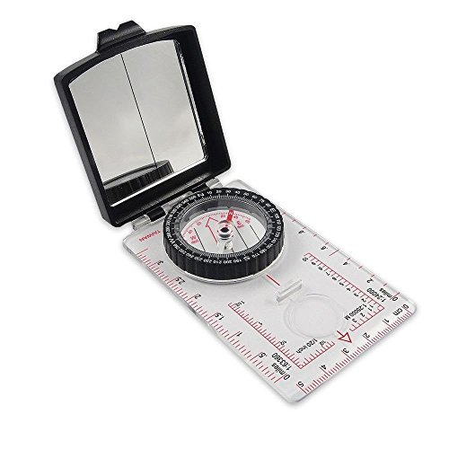 NDuR Sighting Compass with Mirror, Black/Clear
