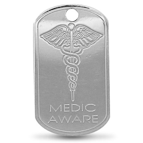 Sterling Silver Engraved Medic Aware SOS Pendant On A Snake Necklace