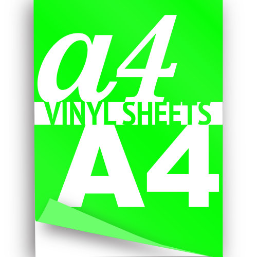 Neon Green Iron On Garment A4 Vinyl Sheets  Heat Transfer HTV