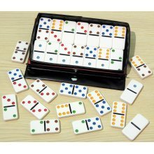 Double six dominoes with coloured spots, plastic - 00117