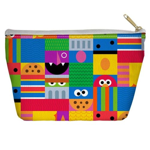 Trevco Sportswear SST269-PCH2-12.5x8.5 Sesame Street & Squares Accessory Pouch, White - 12.5 x 8.5 in.