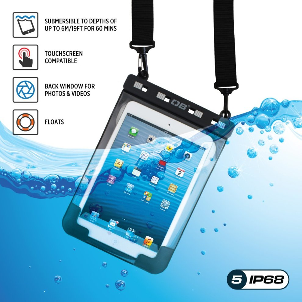 Overboard Universal Waterproof Tablet Case for iPad mini 2/4, iPad mini  Retina, Tab 2/3/4/5, Google Nexus 7 & Other tablets up to 8 3