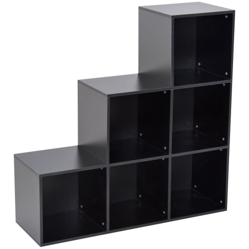 HOMCOM 3-tier Step 6 Cubes Storage Unit Particle Board Cabinet Bookcase Organiser Home Office Shelves Black