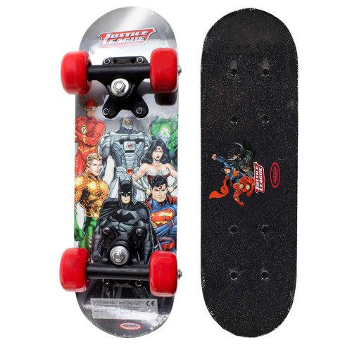 DC COMICS Justice league Kid's 17-Inch Maple Wood Mini Skateboard Cruiser Black/Red