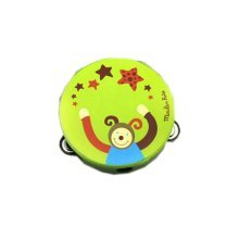 Kids Music Instruments Green Monkey Mini Tambourine Wood Tambourine