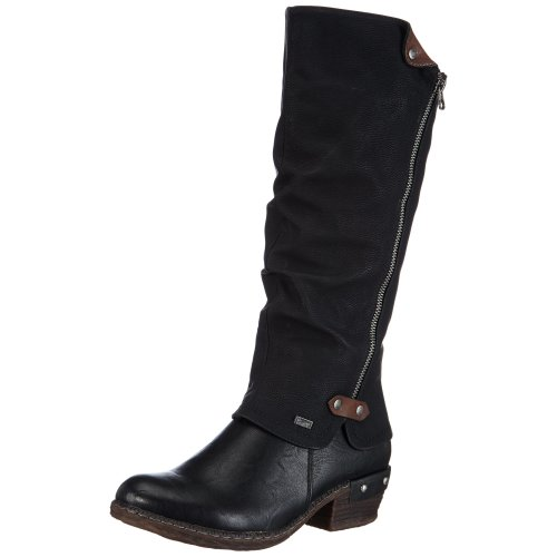 Rieker 93655, Women's Riding Boots, Black (Schwarz/Schwarz/Kastanie/00), 5 UK (38 EU)