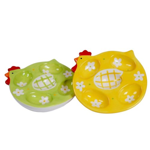 Chicken Design Ceramic Egg Plate Serving Presenting Tableware
