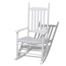 Wood Rocking Chair White Curved Seat