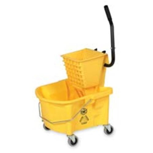 Mop Bucket Wringer Combo- 3in. Casters- 26 qt.- Yellow