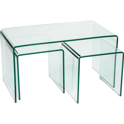 Modena Designer 12mm Tempered Glass Nest of 3 Tables