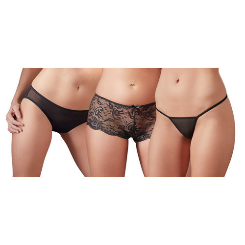 Panty Set of 3 Large Ladies Lingerie Thongs - Cottelli Collection
