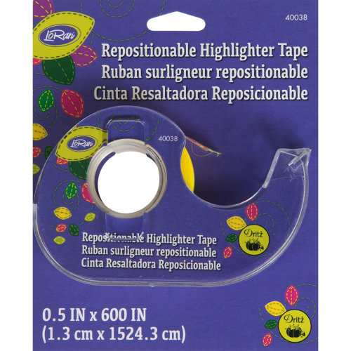 "LoRan Repositionable Highlighter Tape 1/2""x50'-Yellow"