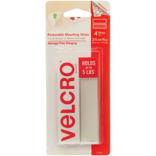 """Velcro(R) Brand Removable Mounting Strips 3.5""""X.75"""" -4/Pkg, Holds Up To 5lbs"""