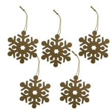Set of 5 Wooden MDF Snowflakes With Hanging String - 9cm