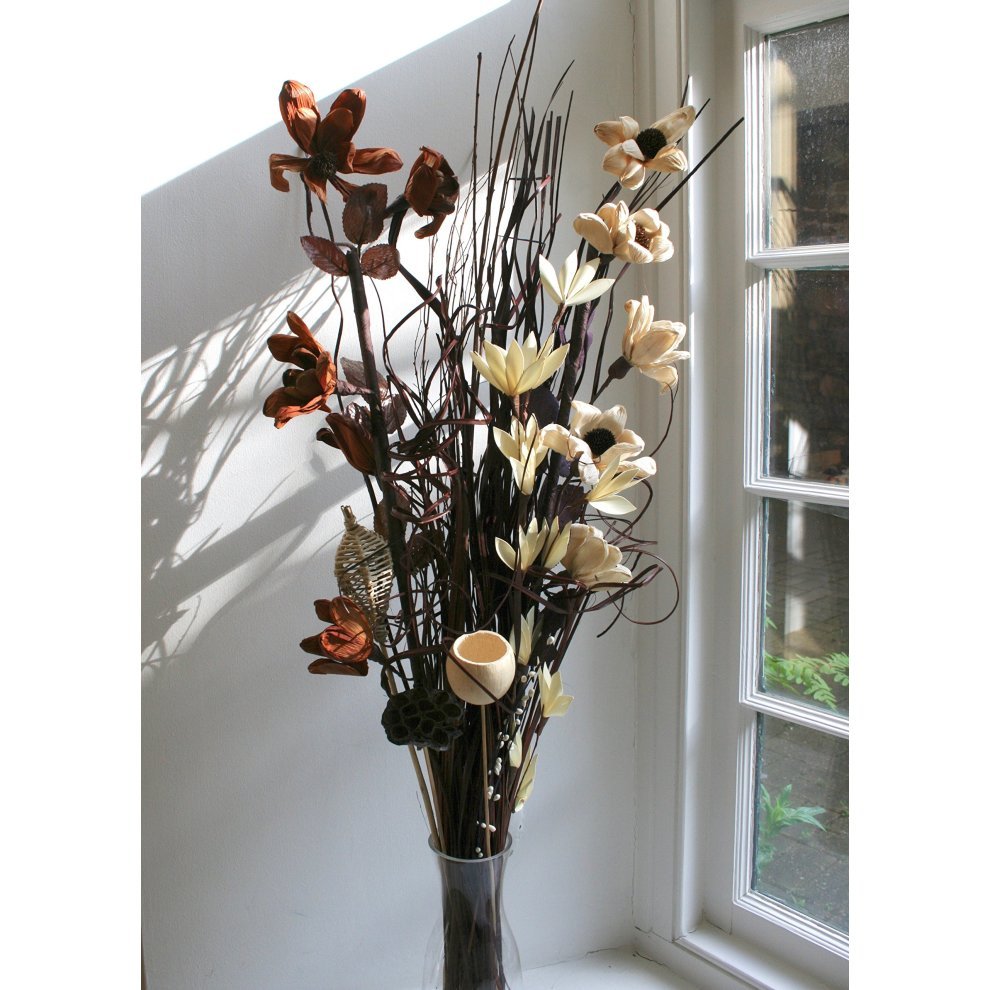 Home Decor Dried Artificial Flower Bouquets 90cm Tall Ready For A Vase Brown And Cream Home Furniture Diy Tohoku Morinagamilk Co Jp