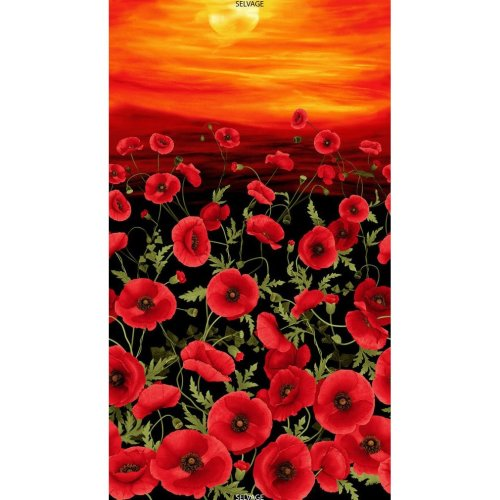 Tuscan Poppies Sunset Cotton Quilting Panel Fabric Flowers Stunning