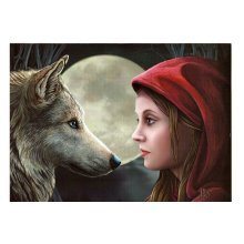 Lisa Parker Moonstruck Blank Greeting Card White Wolf Woman Full Moon Pagan Wiccan Fantasy
