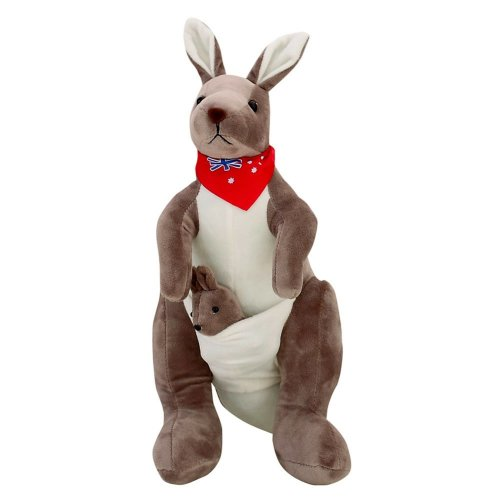 """Plush Doll for Kids Plush Toy Lovely Stuffed Kangaroo with Red Scarf 13.8""""(H)"""