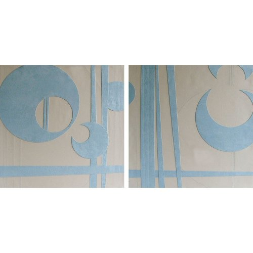 Set Of 2 Assorted Design Wall Art Suede & Leather Effect, Blue/Cream