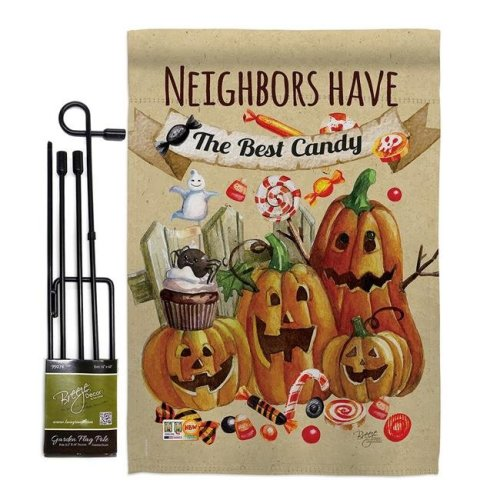 Breeze Decor BD-HO-GS-112067-IP-BO-D-US16-BD 13 x 18.5 in. Neighbors Candy Fall Halloween Vertical Double Sided Mini Garden Flag Set with Banner Pole
