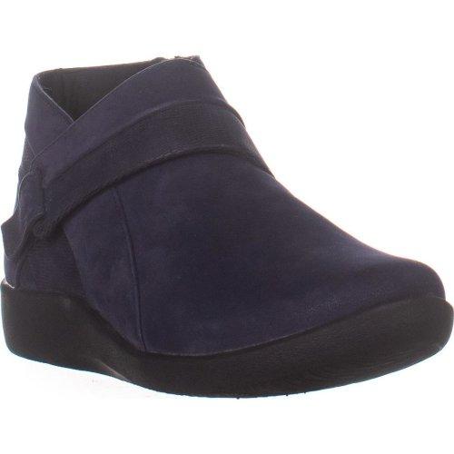 Clarks Sillian Rani Flat Ankle Boots, Navy, 7.5 UK