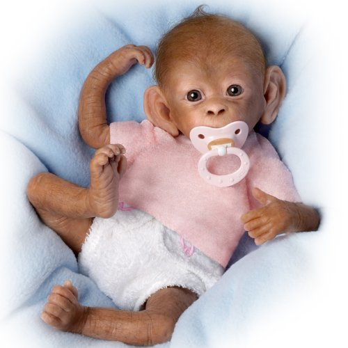 Coco So Truly Real Lifelike, Realistic Newborn Baby Monkey Doll 16-inches by The Ashton-Drake Galleries