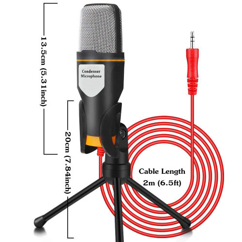 PC Microphone, 3.5mm Jack Condenser Recording Microphone with Mic Stand