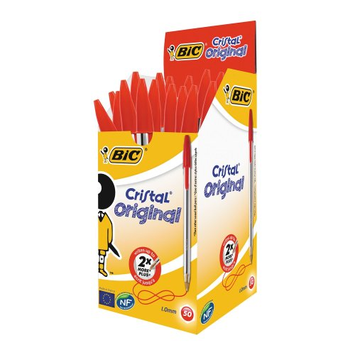 Bic Cristal Medium Red Pens (pack of 50)
