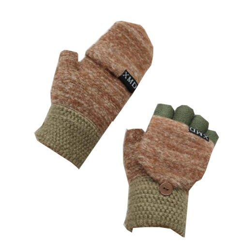Pretty Flip Wool Finger Gloves  Brown Keep Warm While Writing (10-15 Years)