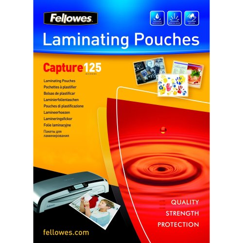 Fellowes Glossy 125 Micron Card Laminating Pouch - 54x86mm laminator pouch