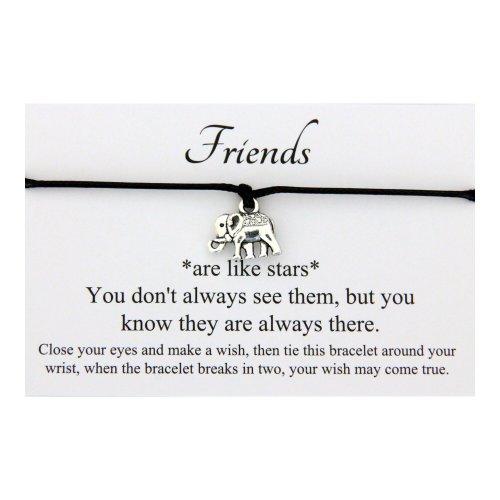 Friends Like Stars Handmade Elephant Charm Friendship Wish bracelet,Organza Gift bag