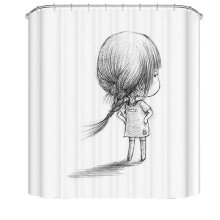 Bathroom Shower Curtains Children Waterproof Shower Curtains [Little Girl]