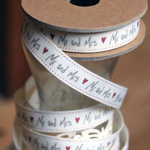 East of India Ribbon White 'Mr & Mrs' 3m - Wedding Favours / Craft / Gift Wrap