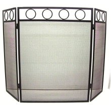 61cm Black Wrought 3 Fold Iron Screen With Circle Pattern -  firescreen inglenook 3 panel folding fireguard black wrought iron effect fire95