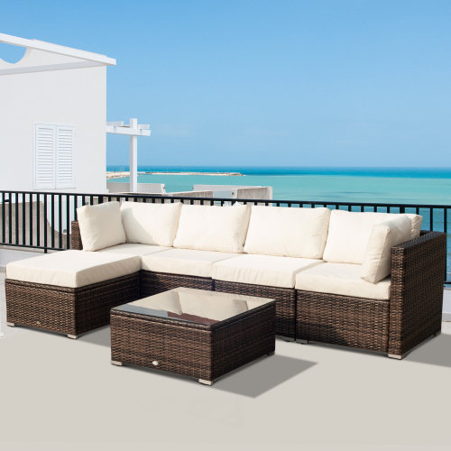 Outsunny Garden Rattan Furniture 6 PCs Conservatory Set - Brown