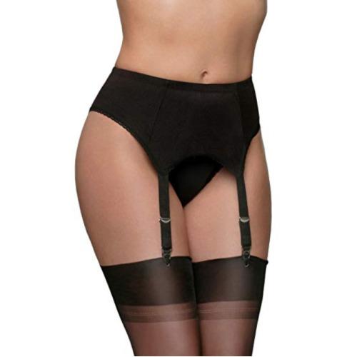 Nylon Dreams NDL6 Women's Black Solid Colour Garter Belt 4 Strap Suspender Belt Medium