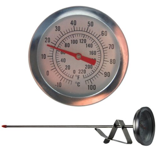 Home Brew Thermometer 52mm Dial and 300mm Probe Length With Attachment Clip