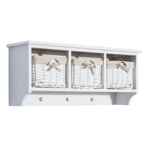 Homcom Entryway Coat Rack Wall Mounted Shelf w/ Wicker Basket (3 Baskets, White)