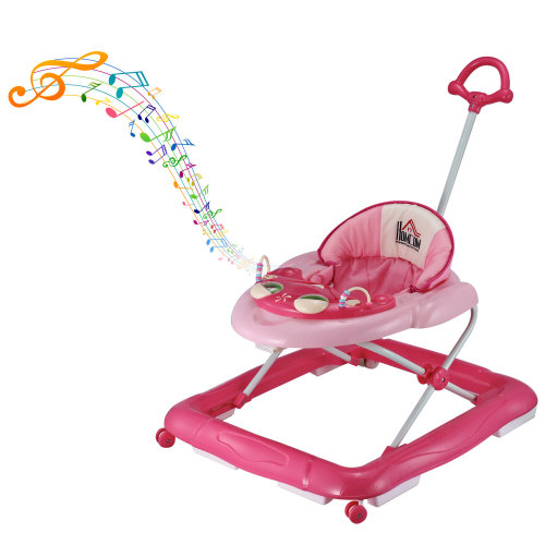 HOMCOM Baby Walker Folding Toddler First Steps Learnig Car Anti-Rollover Activity Music Ride On Adjustable 6-12 Months P